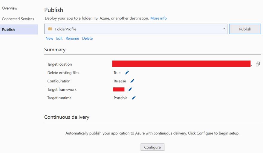 Publish the ASP.NET Core application