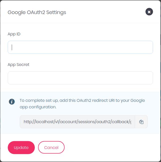 OAuth2 Setup Dialog