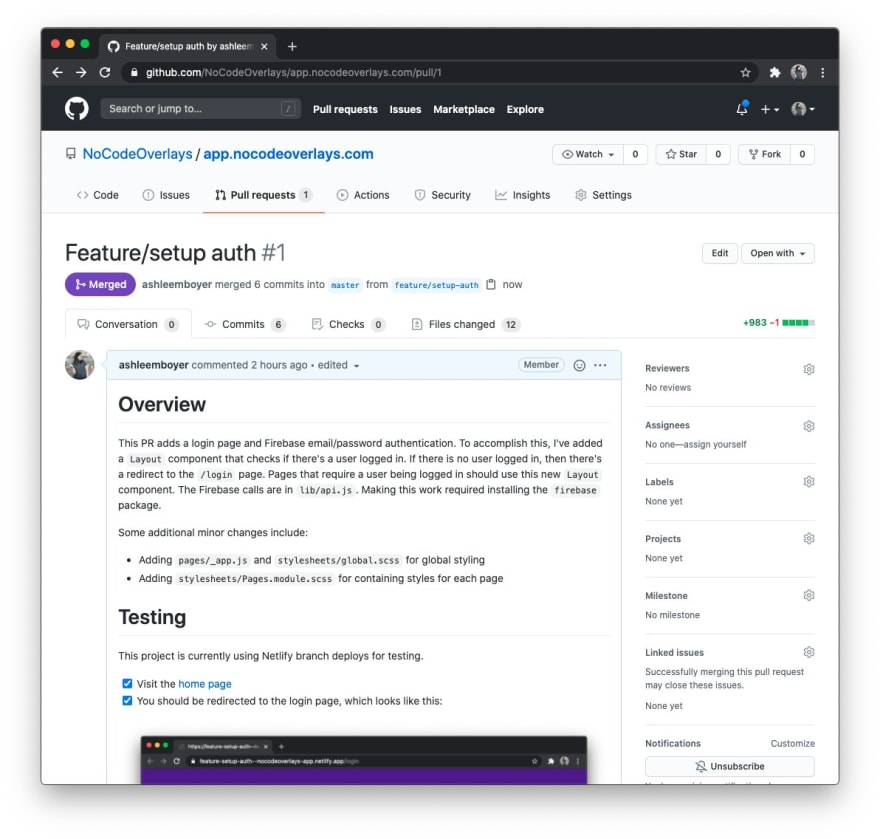 The first merged PR as shown in GitHub.