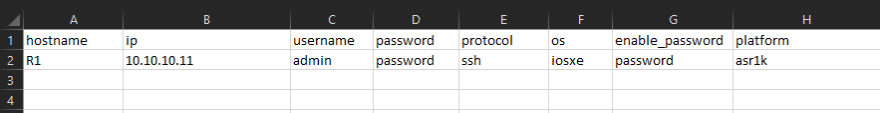 Devices information in CSV file