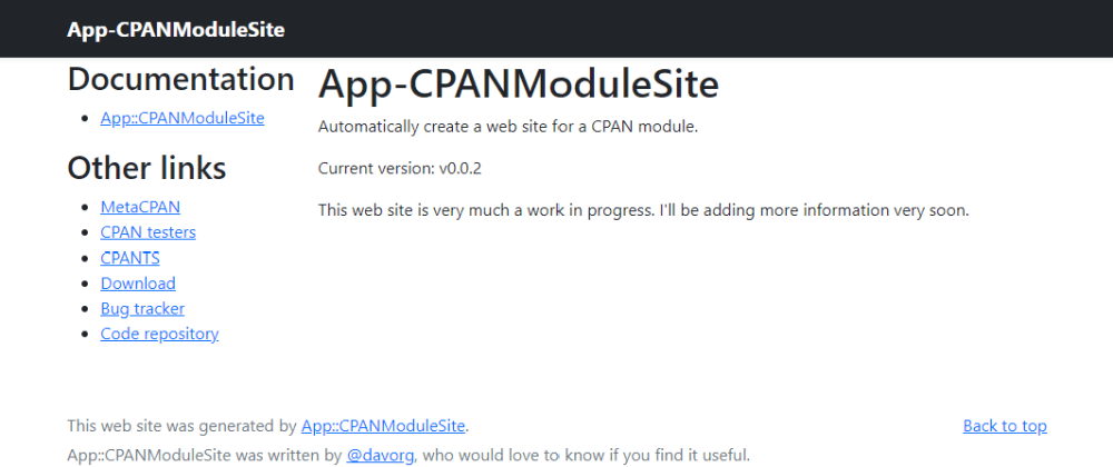 Cover image for Easier web sites for CPAN modules