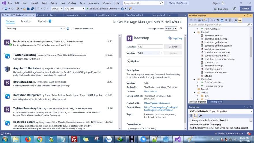 ASP.NET MVC 5 Install Bootstrap -  hoanguyenit.com