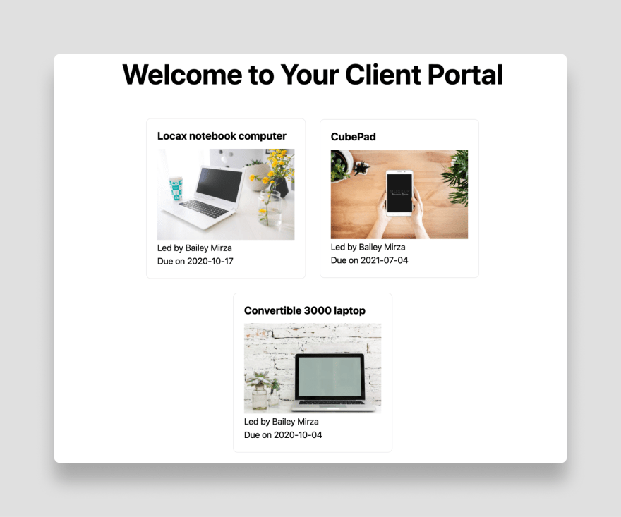 Client projects in your portal