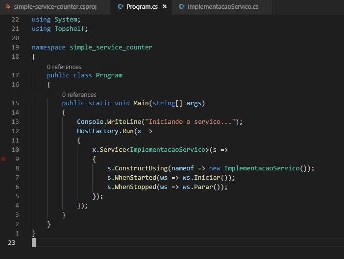 Implementação simples do método Main, incluindo a chamada do serviço.