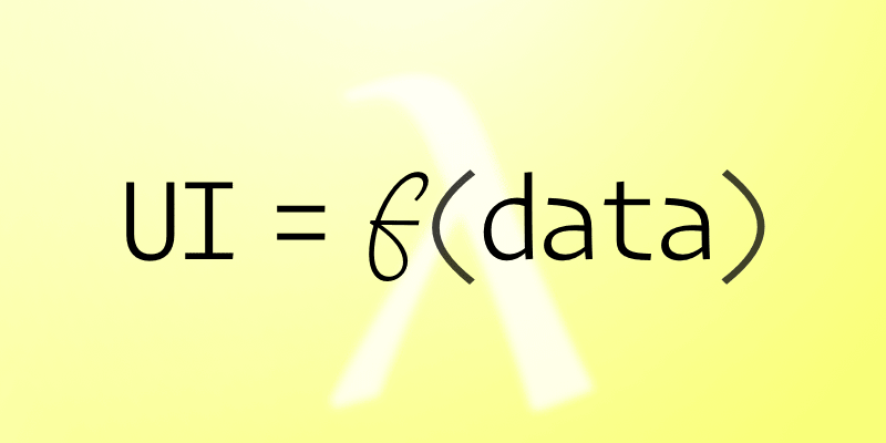 "the equation ""UI = f(data)"" with a subtle translucent Greek capital lambda in the background"