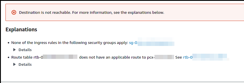 Error message due to lack of peering and no direct path