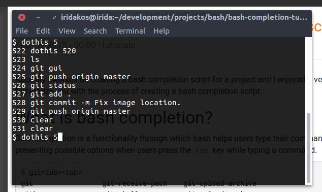 Bash completion image