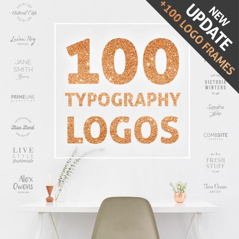 100 Typography Logos + 100 Frame Logos