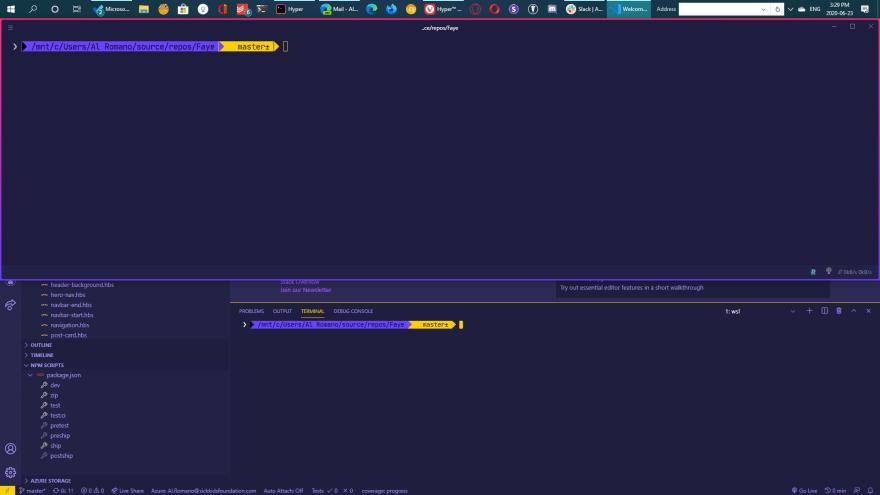 Hyper Terminal Above, VS Code Theme Below