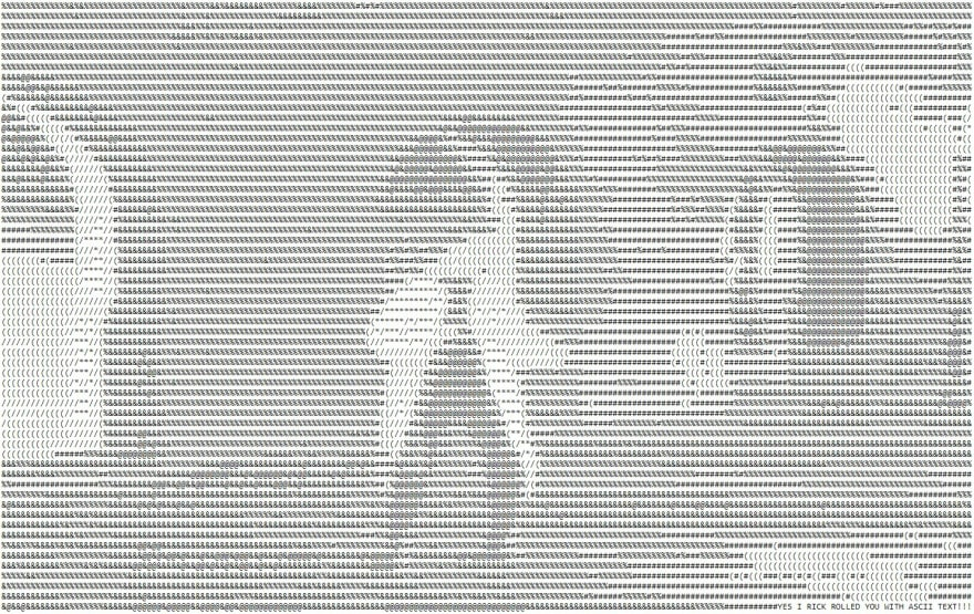 Rick Roll in ASCII text