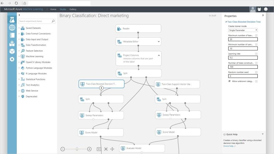 Building a classifier model with Azure ML Studio