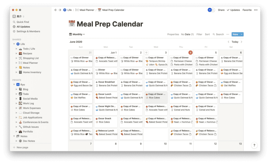 Screenshot of the Notion app on the Meal Prep Calendar page with a calendar view with 6 meal cards per day