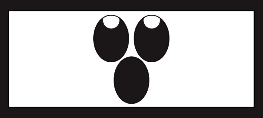 Howling ghost white with large oval eyes and mouth.