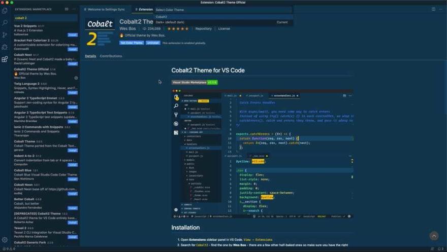 Cobalt 2 Theme VS Code