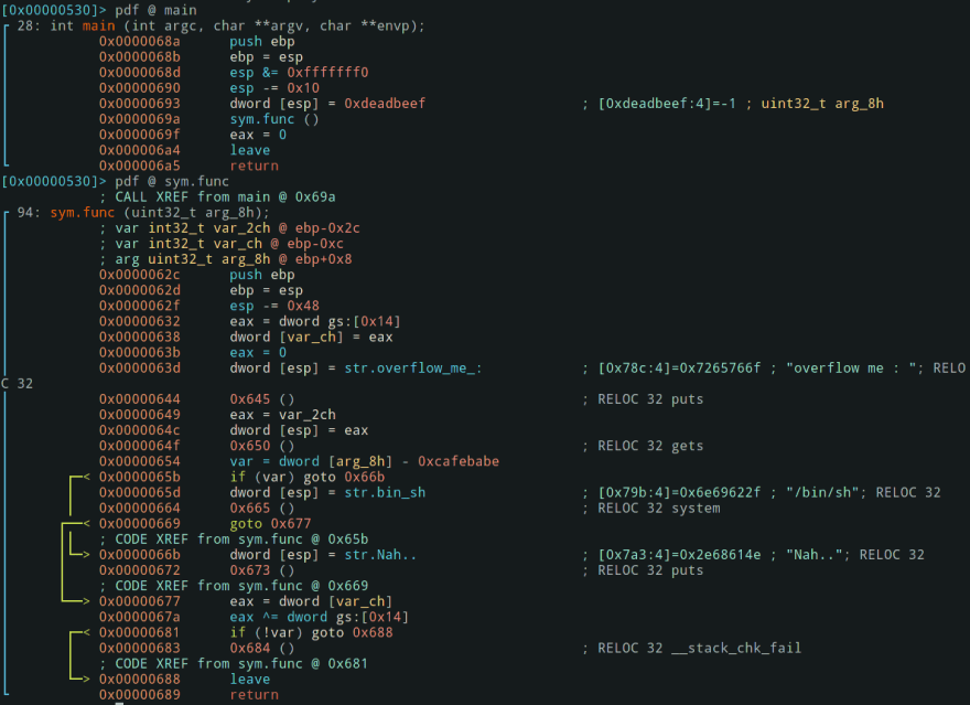 disassemble main and func