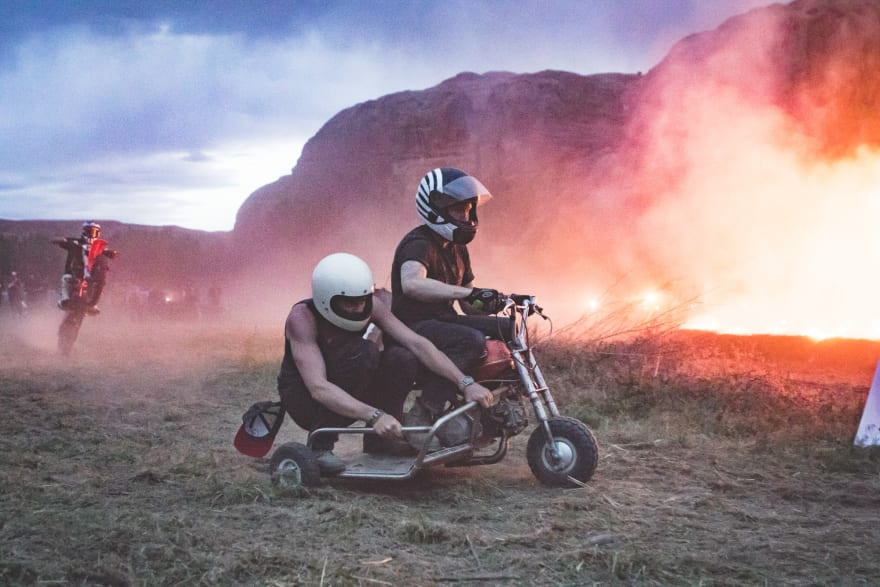 Moab, Utah, 2016.  A 3 story fire was lit so that we could race our motorcycles around it. This is one for the grandchildren to hear about, maybe after their teen years!