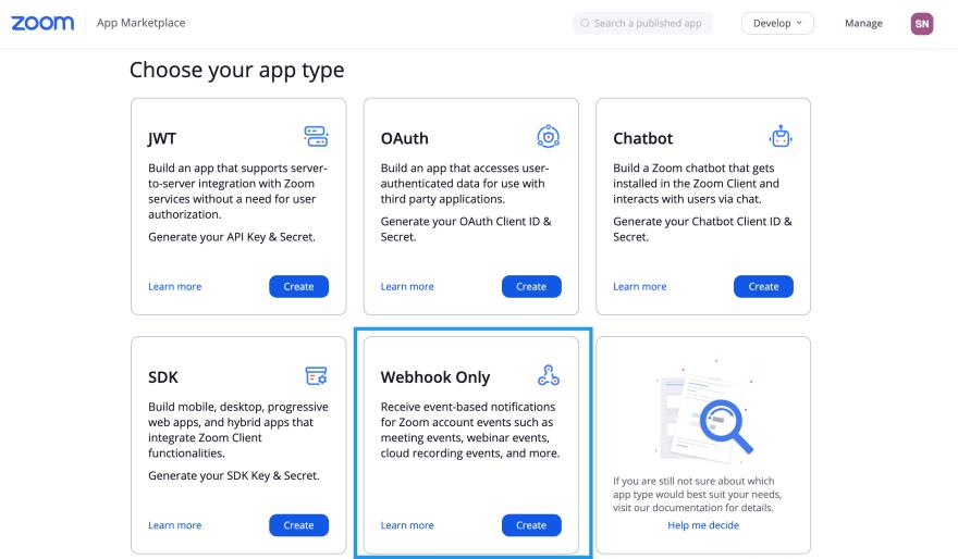 Create Webhook Only Zoom App
