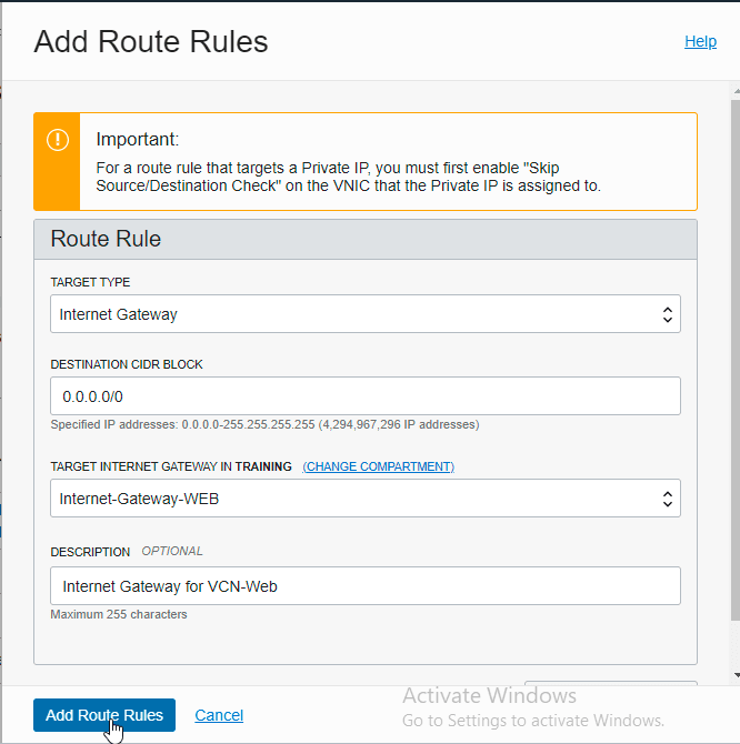 add route table