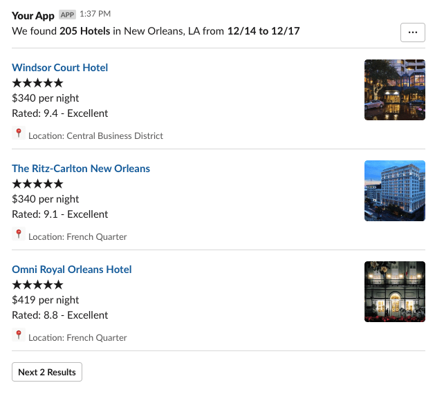 A Slack message styled to look like a search result displaying three hotels