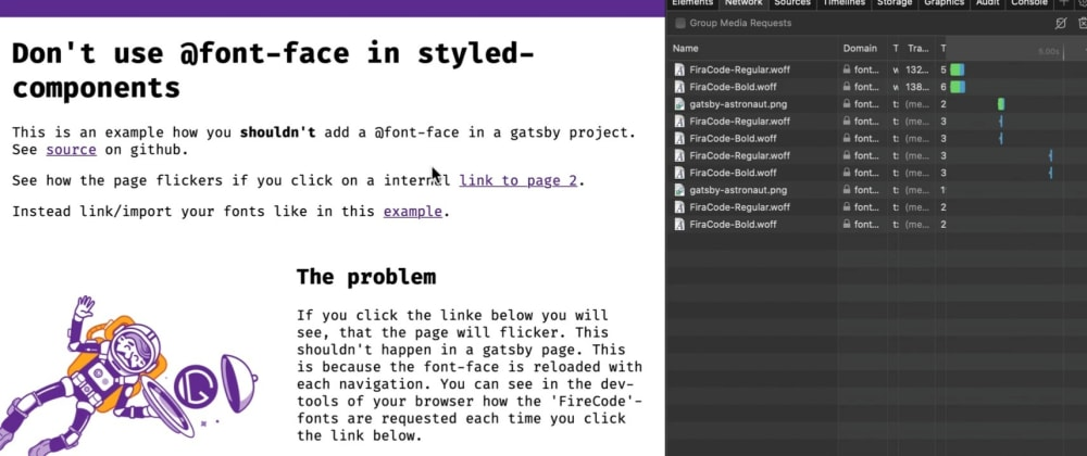 Cover image for Don't use @font-face in styled-components with GatsbyJS