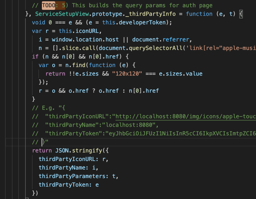 Commented minified code of function _thirdPartyInfo from MusicKitJS