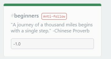 """beginner tag now with an """"anti follow"""" badge next to it"""