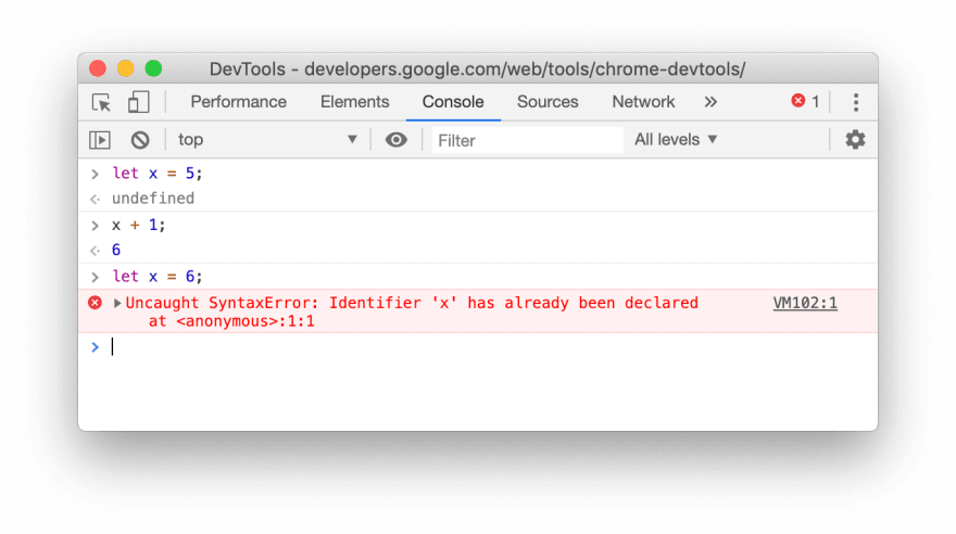 Screenshot for an example of the let redeclaration failing in the Console of Chrome 79