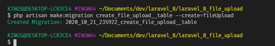 create migration file