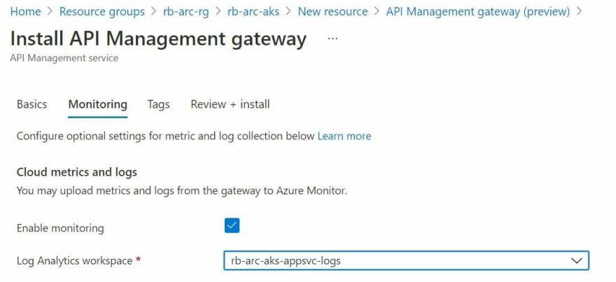 Screenshot showing the API Management Gateway Extension creation process through the Azure Portal