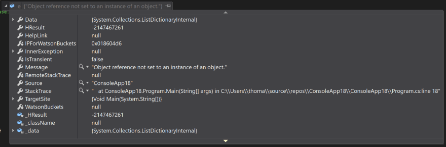 NullReferenceException in Visual Studio 2