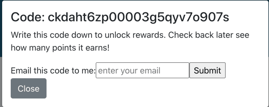 A modal with the id and email inputs appears after the user submits a question
