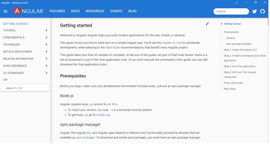 Angular's Documentation Page Desktop View