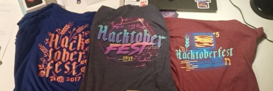 Hacktoberfest shirts of 2017, 2018 and 2019