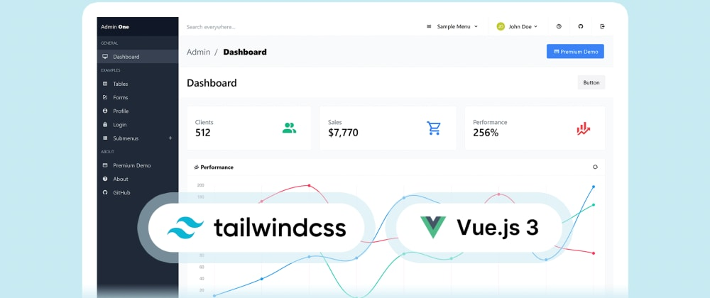 Cover image for Free Vue.js 3 Tailwind CSS admin dashboard