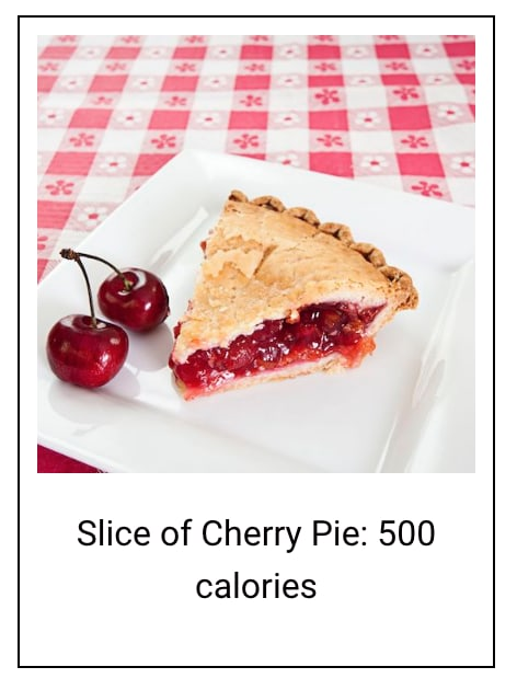 a slice of cherry pie, with text below it reading - Slice of Cherry Pie: 500 calories