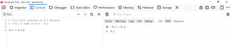 Negative numbers in JavaScript