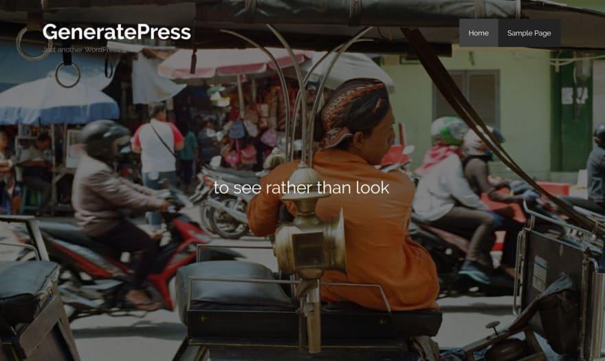Homepage Hero using Gutenberg running on the GeneratePress WordPress Theme
