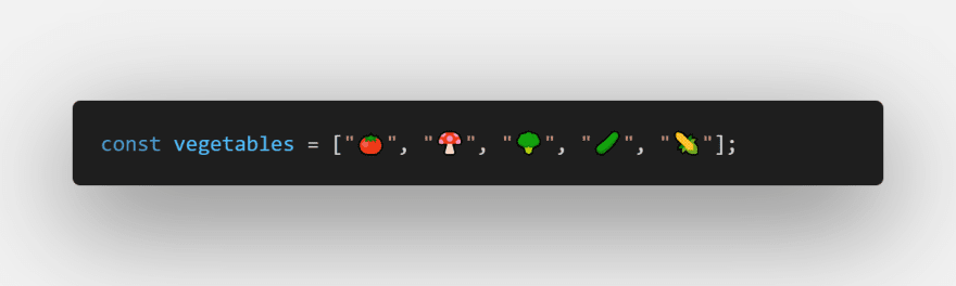 Initial state of vegetables array