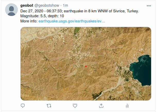 The TwitterBot showing an earthquake