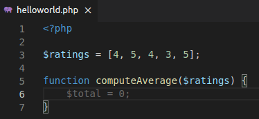 PHP code with function name that shows intent to compute an average (start writing code)