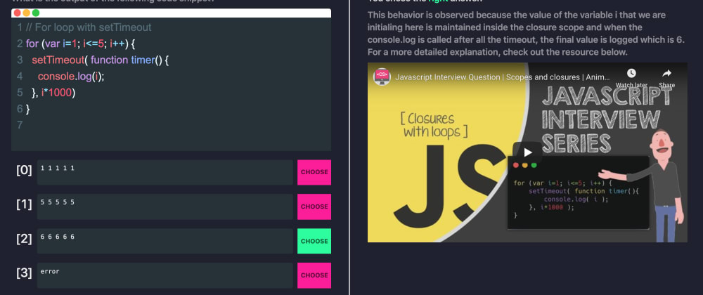 Cover image for I created a Javascript Interview quiz interface, need your help!