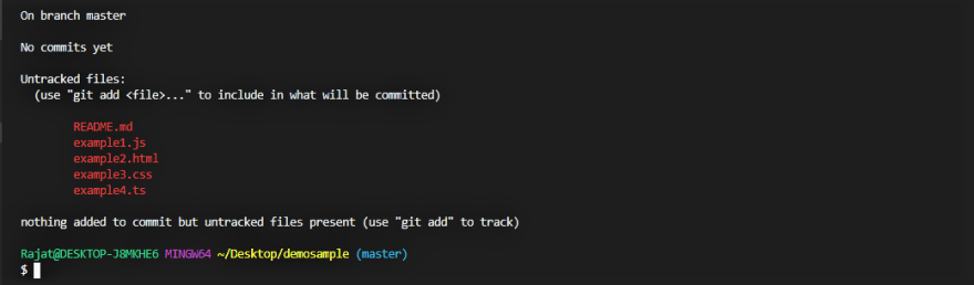 Example for message returned after typing 'git status'