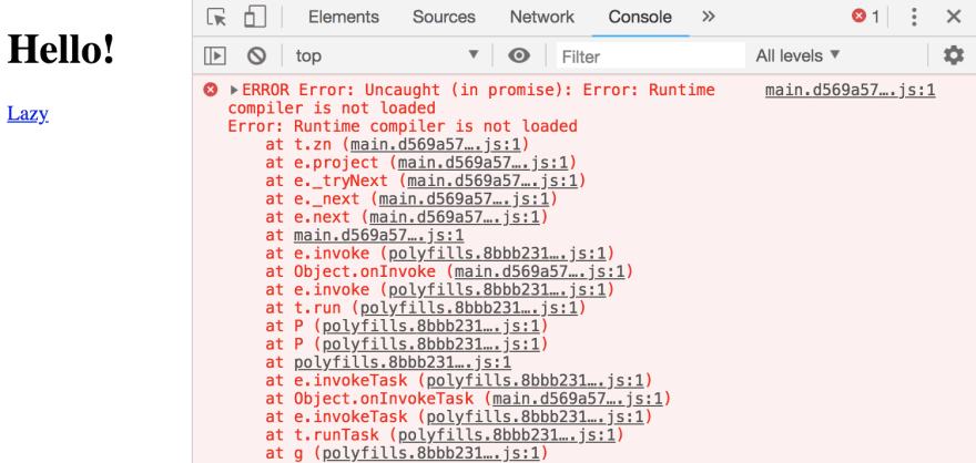 When running our app in AOT mode, we get an error: Runtime compiler is not loaded