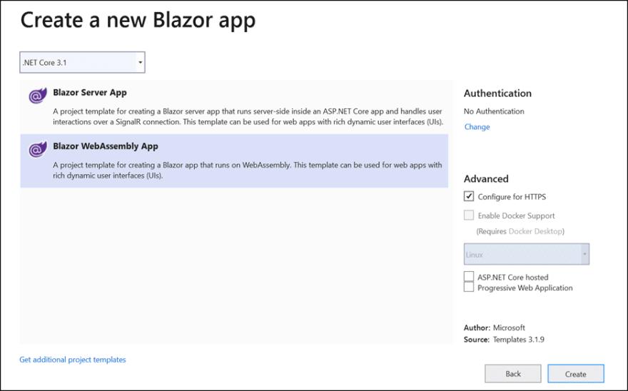 Select Blazor WebAssembly App