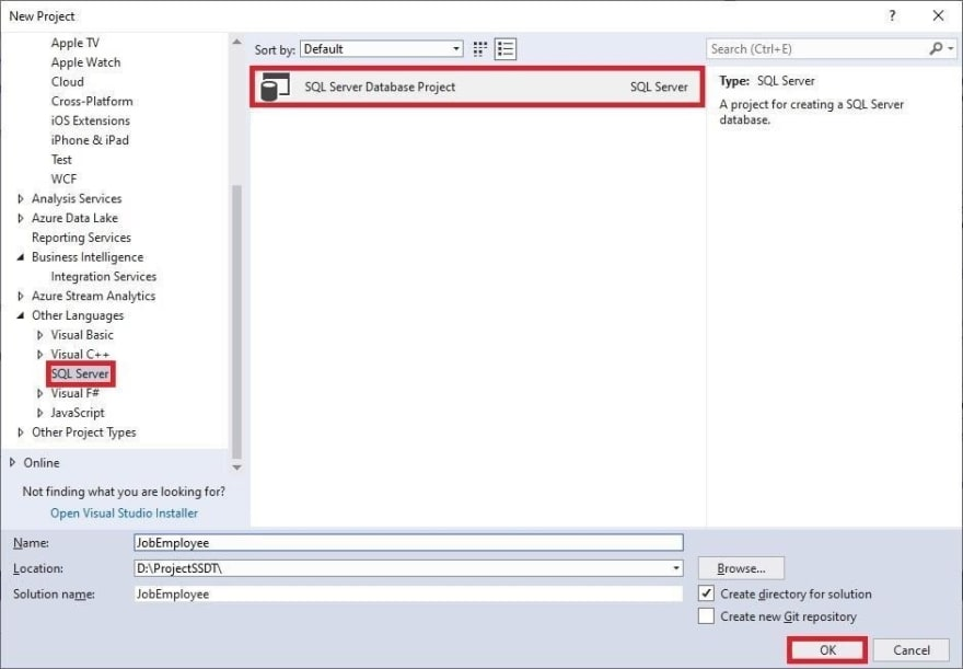 Creating a SQL Server Database project