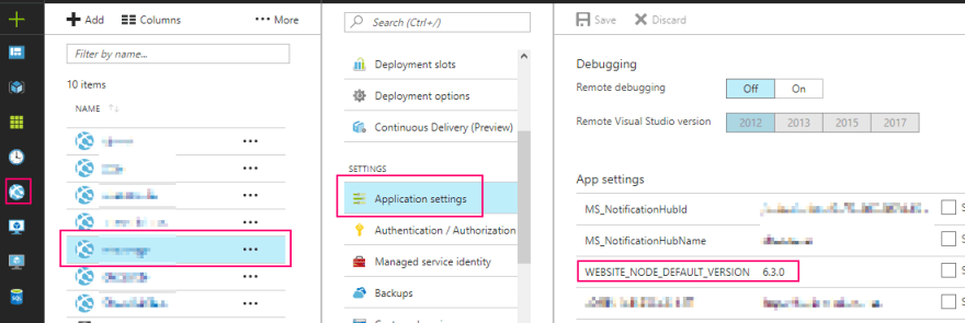 WEBSITE_NODE_DEFAULT_VERSION Application Settings