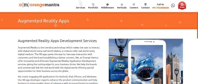 OrangeMantra-A Popular Augmented Reality Apps Development Services