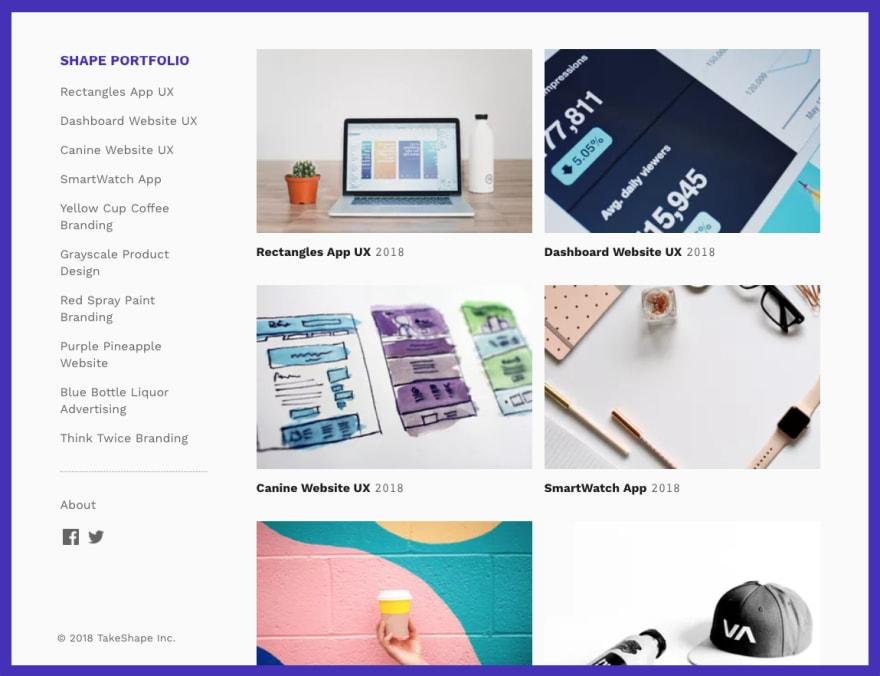 A screenshot of the designer portfolio site you'll be building.