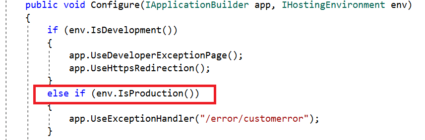 Configure UseExceptionHandler in the production environment.