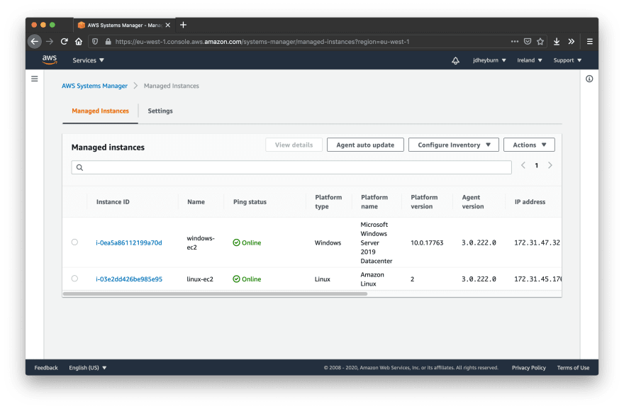 AWS SSM Managed Instances view with two instances appearing as online and managed